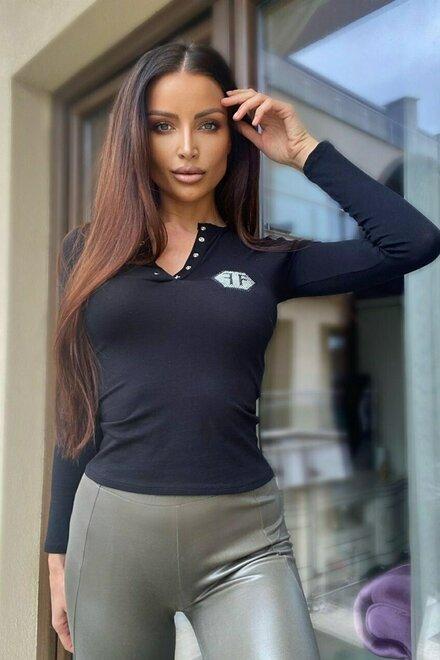 Bluza dama Black FF cu maneca lunga