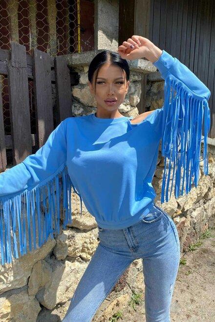 Bluza dama BLUE SPRING FRINGE cu franjuri