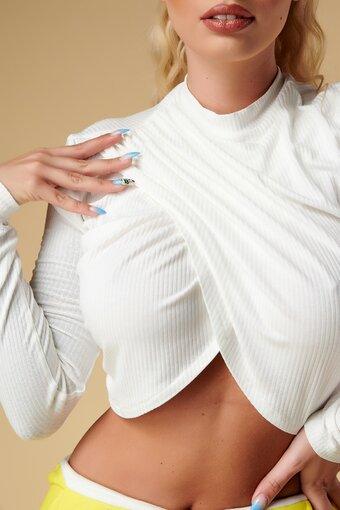 Bluza dama White Deliciously Lady parte peste parte