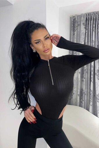 Body dama BLACK CHRISTAL TOP cu fermoar