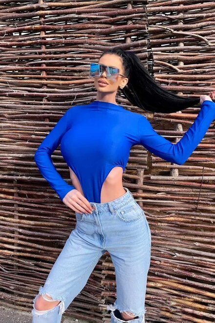 Body dama ELECTRIC BLUE CHRISTAL TOP elastic