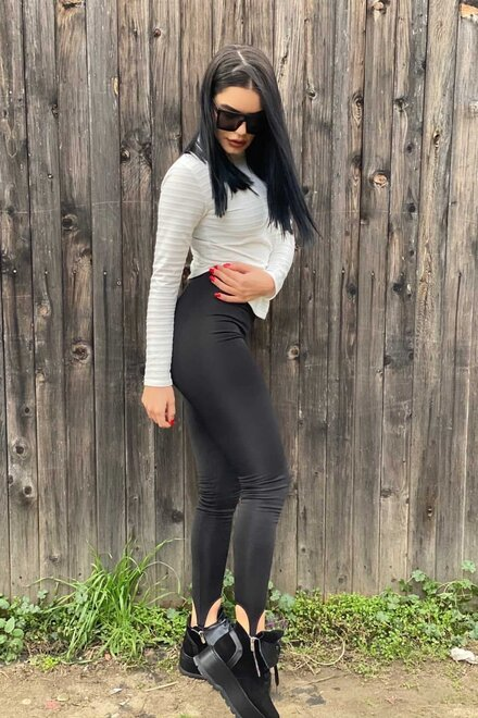 Colanti dama din catifea Sexy Black cu elastic