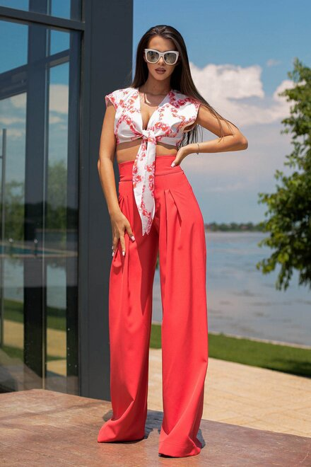 Compleu dama THAILAND PALAZZO RED cu pantaloni evazati