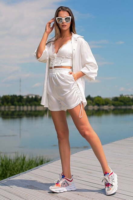 Compleu dama WHITE OVERSIZED din 2 piese