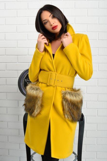 Palton dama colorat DROP OF MAGIC cu buzunare aplicate din blana ecologica