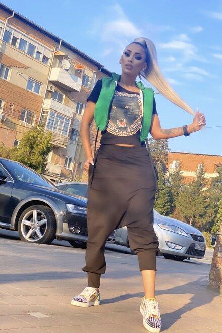 Pantaloni dama din jerse BLACK ONLY YOU cu turul lasat