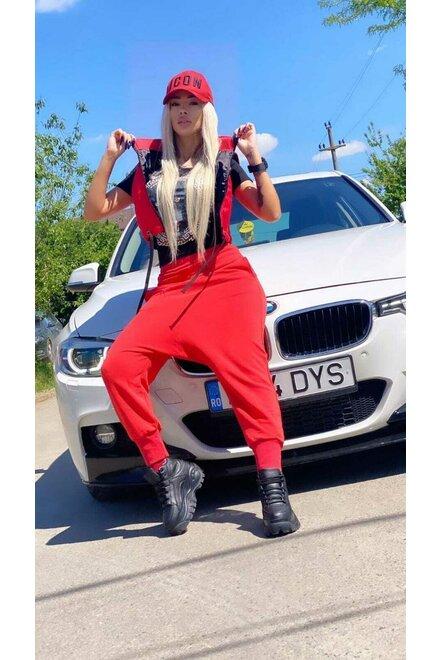 Pantaloni dama din jerse RED ONLY YOU cu turul lasat
