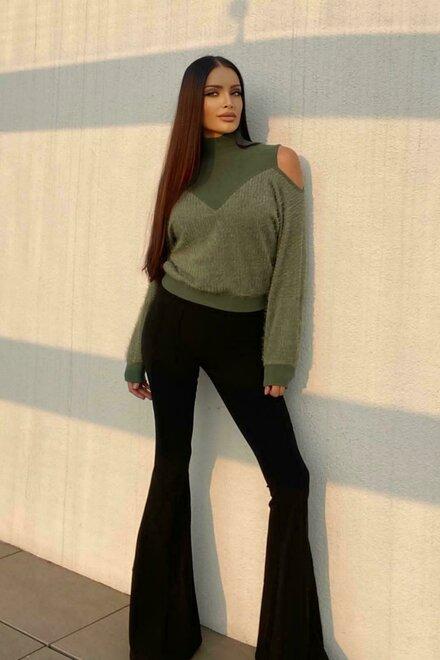Pantaloni dama evazati Sexy Black din bistretch