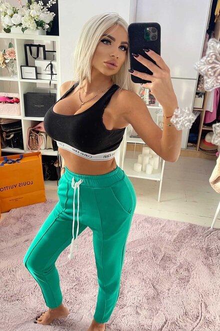 Pantaloni dama trening GREEN BORN TO LIVE din jerse