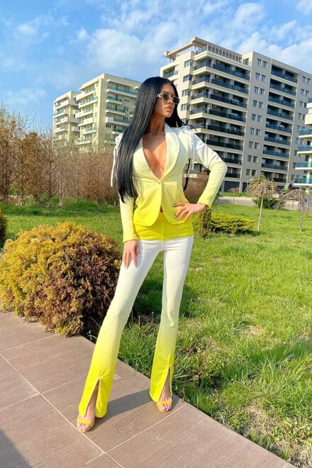 Pantaloni dama trening YELLOW TIE DYE VIBRANT din jerse