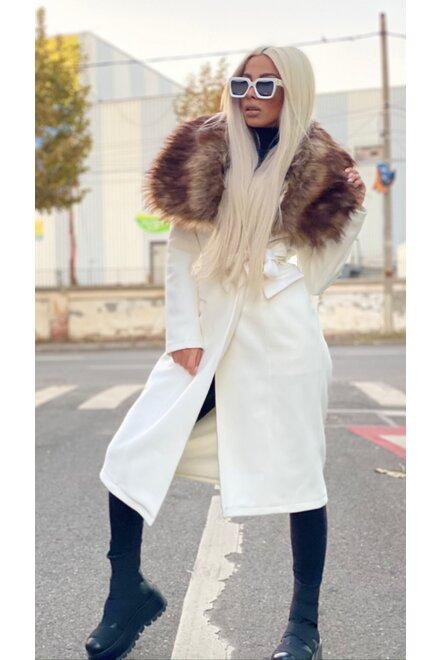 Pardesiu dama din stofa FOR KEEPS cu guler din blana ecologica