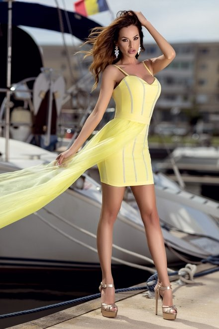 ROCHIE DAMA DANCING DREAM DRESS YELLOW DIN COLECTIA FOGGI BEAT OF SUMMER