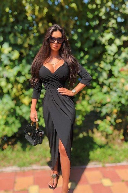 Rochie dama elastica BLACK FABULOUS cu decolteu