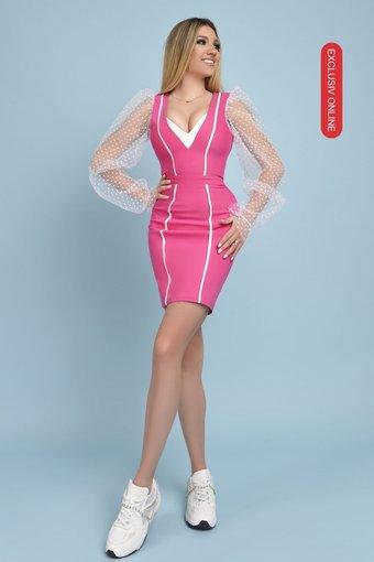 Rochie dama eleganta BARBIE DRESS cu maneci din tulle