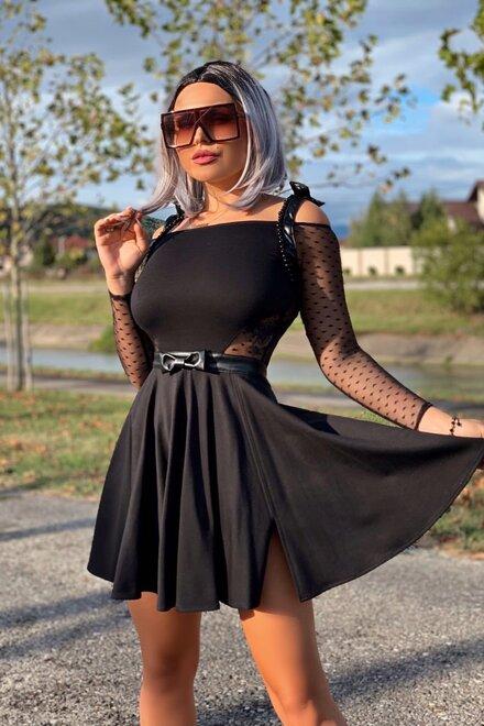Rochie dama eleganta BLACK SHINE ME UP clos cu accente din piele ecologica