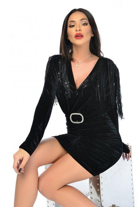 Rochie dama eleganta BLACK VIP din catifea cu epoleti din franjuri
