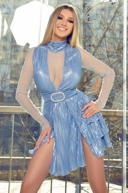 Rochie dama eleganta BLUE LETTERS OF LOVE cu reflexii metalizate