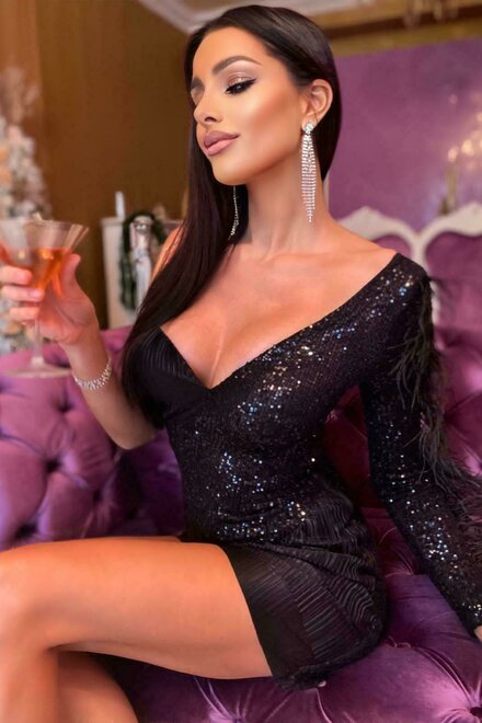 Rochie dama eleganta BRIGHT HONEY BLACK cu paiete