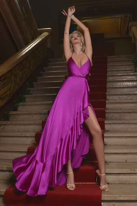 Rochie dama eleganta ONE NIGHT ONLY FUCSIA din satin