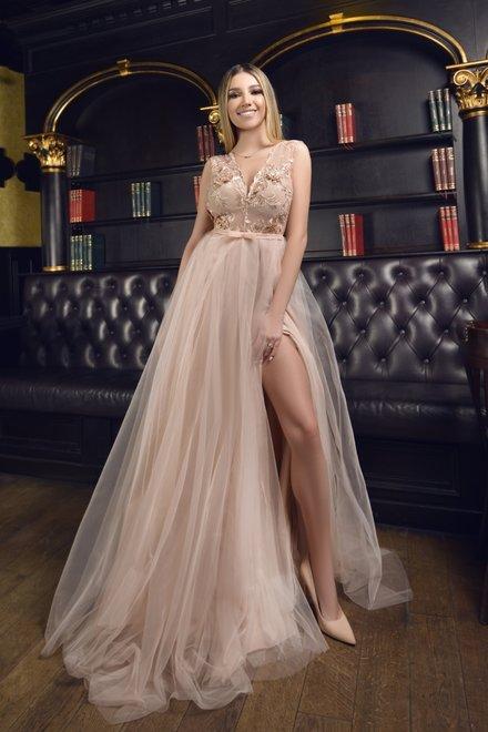 Rochie dama eleganta PRINCESS PROM cu dantela decupata si tull