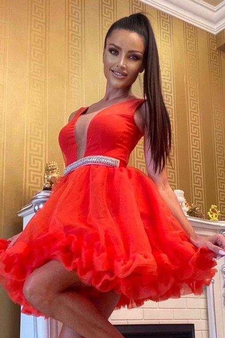 Rochie dama eleganta RED QUEEN cu volanase