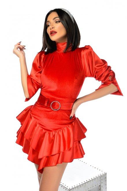 Rochie dama eleganta SUPER PARTY RED cu volanase si curea in talie