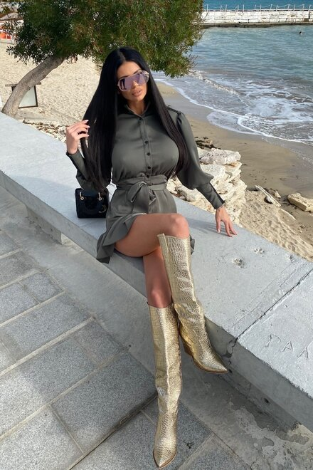 Rochie dama KAKI ELEGANT PRINCESS cu dantela