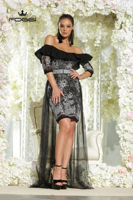 ROCHIE DAMA PROM DRESS BLACK DIN COLECTIA FOGGI PRINCESS COLLECTION