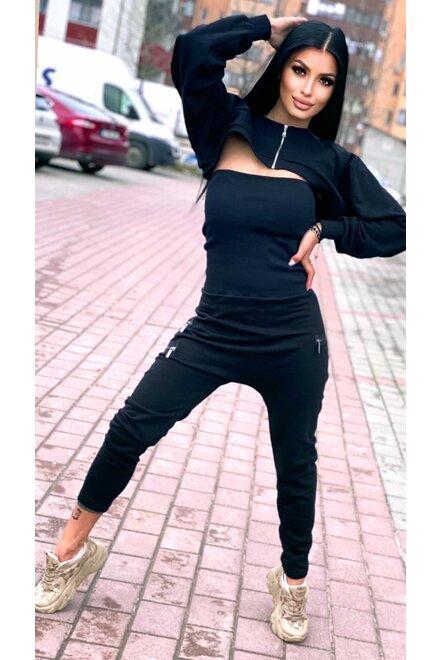 Salopeta dama din jersey BLACK COOL GIRL cu manecar
