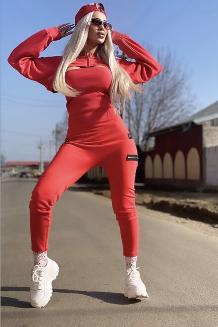 Salopeta dama din jersey CORAL RED COOL GIRL cu manecar