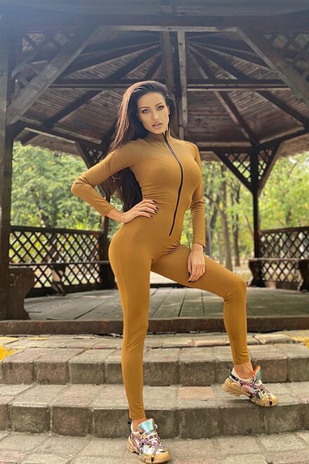 Salopeta dama mulata lunga GOLD BRONZE cu fermoar