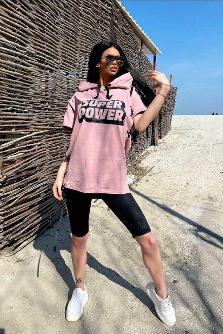 Tinuta dama sport SUPER POWER powder pink cu rochie oversized si colant