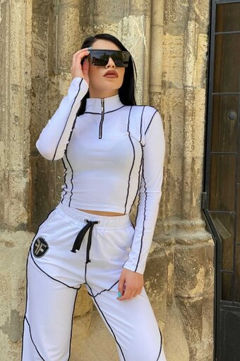 Trening dama bumbac WHITE SURJE TREND din 2 piese