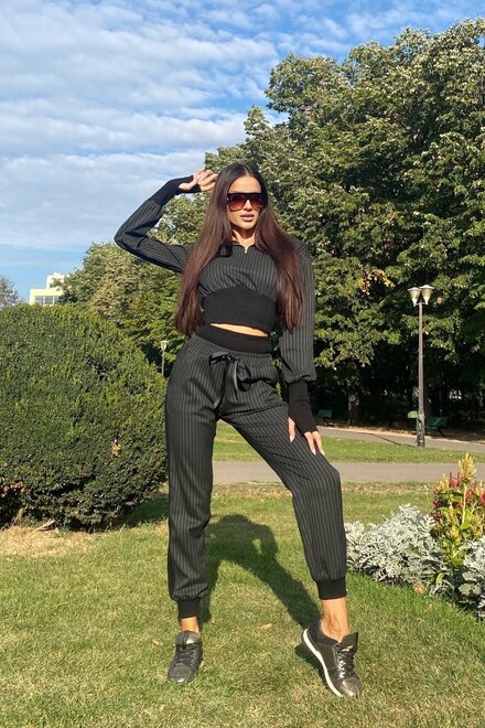 Trening dama confortabil TOUCH OF LINES cu mansete lungi