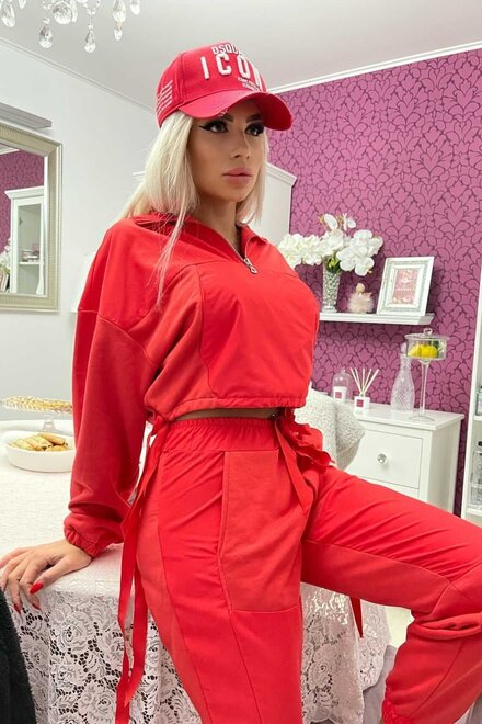 Trening dama CORAL RED SPRING VIBES din jerse si fas