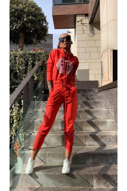 Trening dama jerse CORAL RED COZY TRACKSUIT din 2 piese