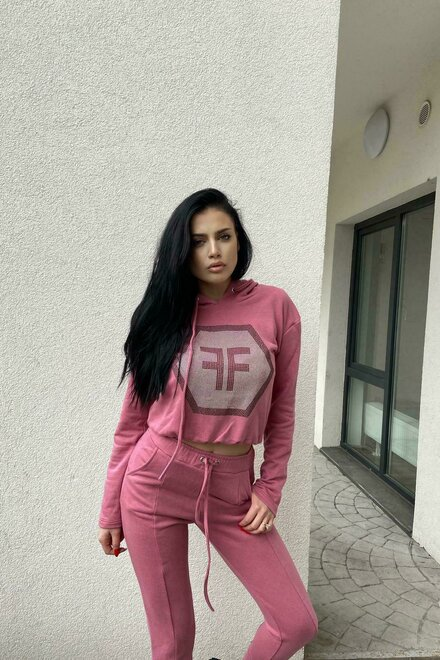 Trening dama jerse POWDER PINK COZY TRACKSUIT din 2 piese