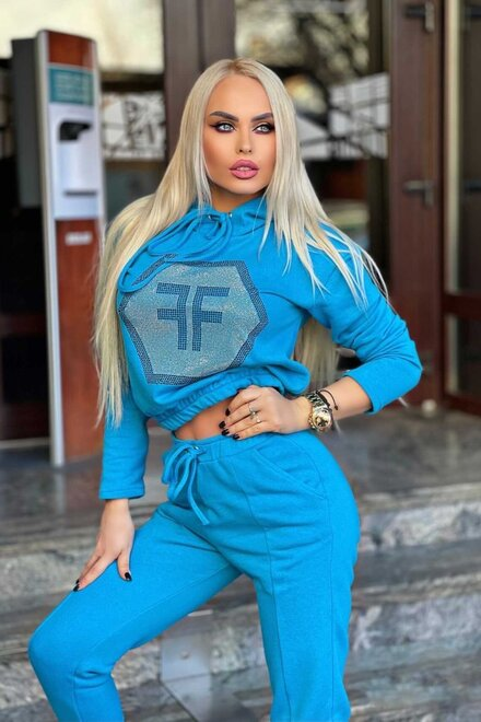 Trening dama jerse TURQUOISE COZY TRACKSUIT din 2 piese