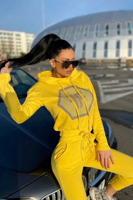 Trening dama jerse YELLOW COZY TRACKSUIT din 2 piese