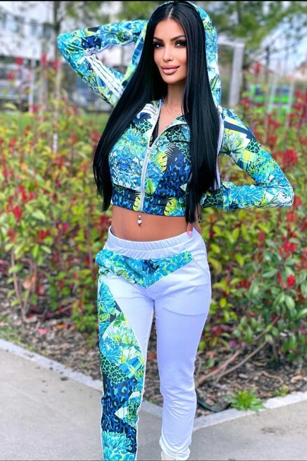 Trening dama lejer GREEN FLORAL DUO SPORTY DIVA din 2 piese
