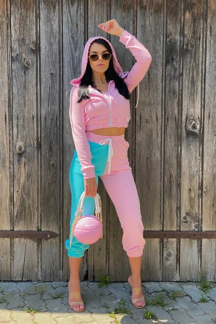 Trening dama lejer PINK TURQUOISE DUO SPORTY DIVA din 3 piese