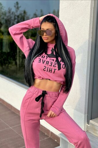 Trening dama plus PINK BABY YOU DESERVE THIS din 2 piese