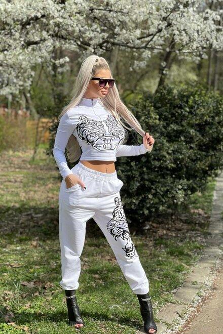 Trening dama WHITE SUPER TIGER din bumbac