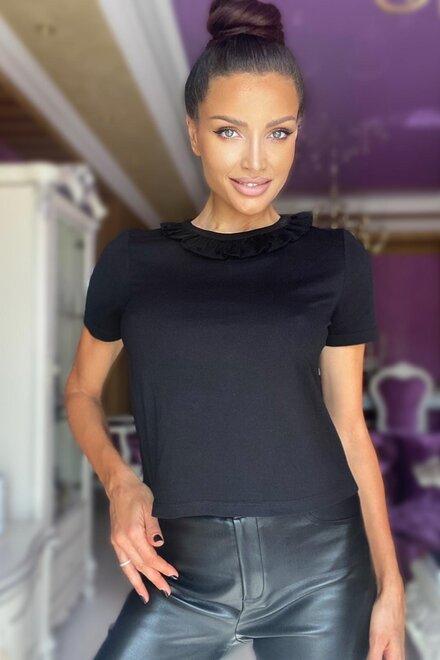 Tricou dama BLACK PASSION cu aplicatie tulle