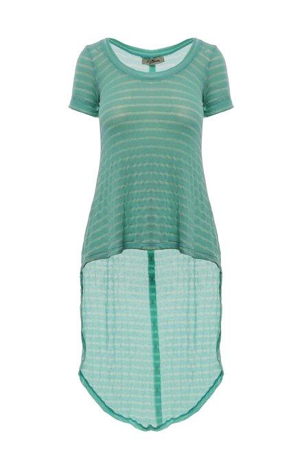 Tricou dama Mint Lines asimetric