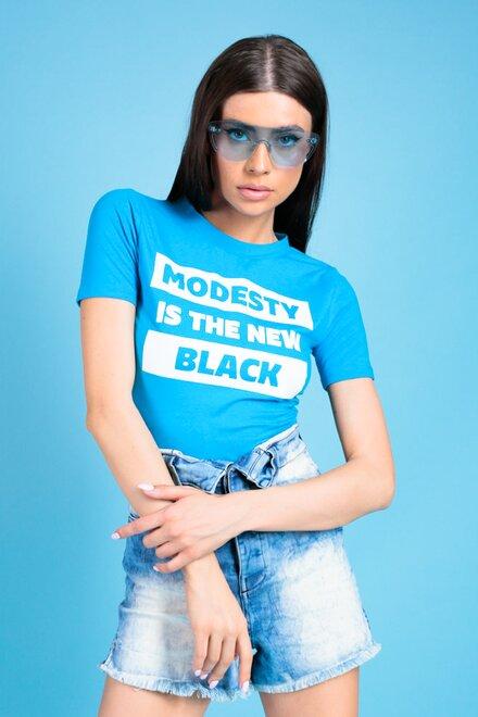 Tricou dama MODESTY BLUE cu imprimeu