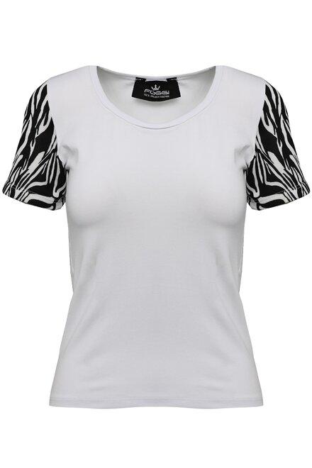 Tricou dama White Zebra Slevees cu maneca scurta