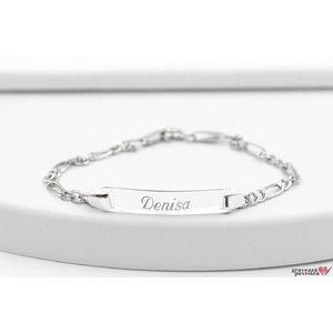 Bratara lant placuta 21 mm personalizata gravura text Argint 925 Premium (nou nascut - 10 ani)