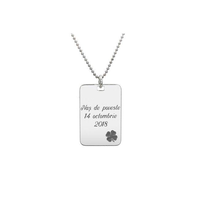 Colier placuta 30 mm personalizata gravura text Argint 925 rodiat (lant Beads)