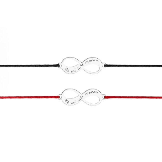 Bratari cuplu argint infinit personalizat cu snur (18 mm)